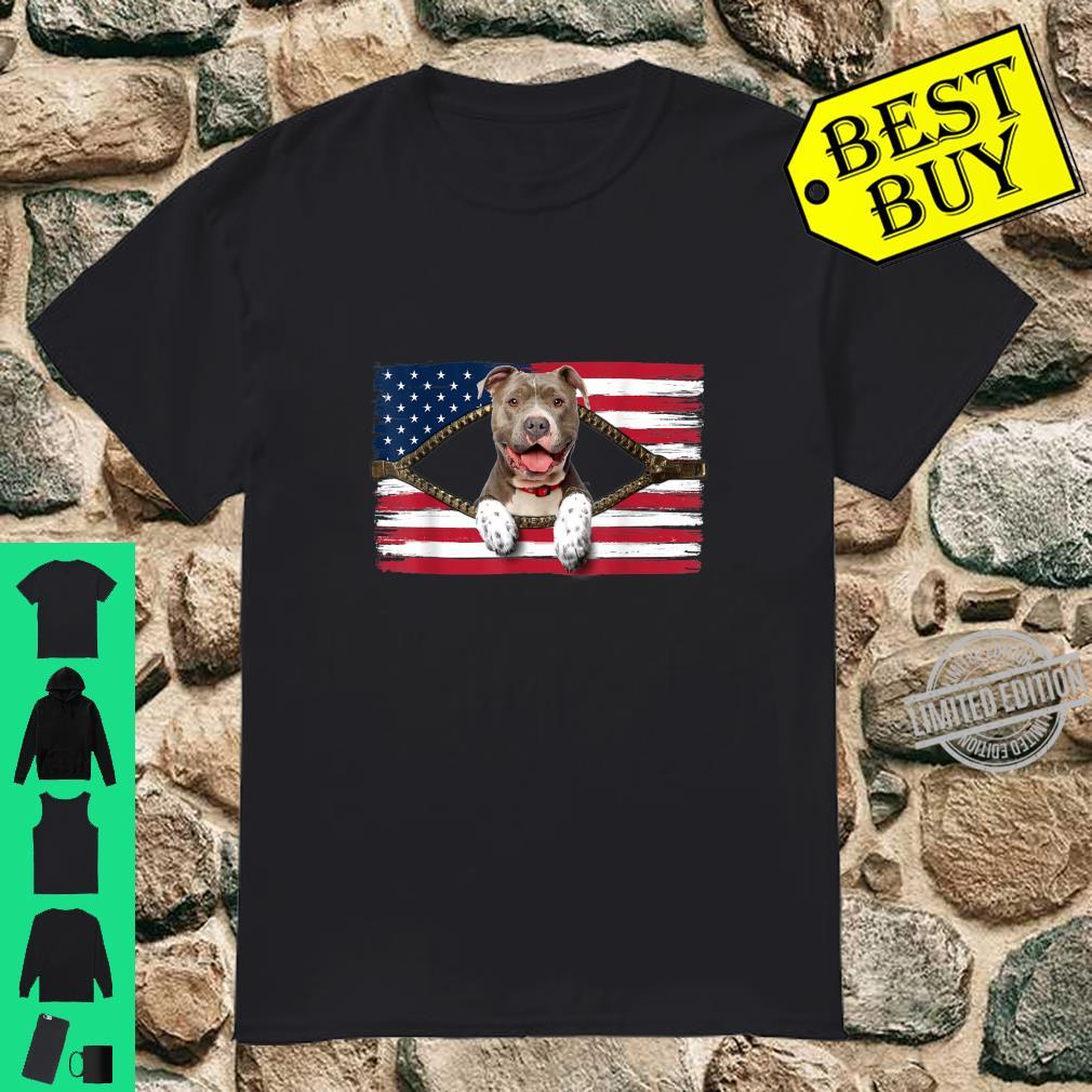 Funny Pitbull American Flag Shirt