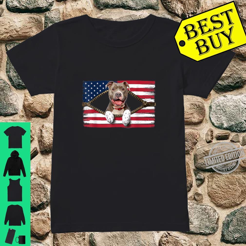 Funny Pitbull American Flag Shirt ladies tee