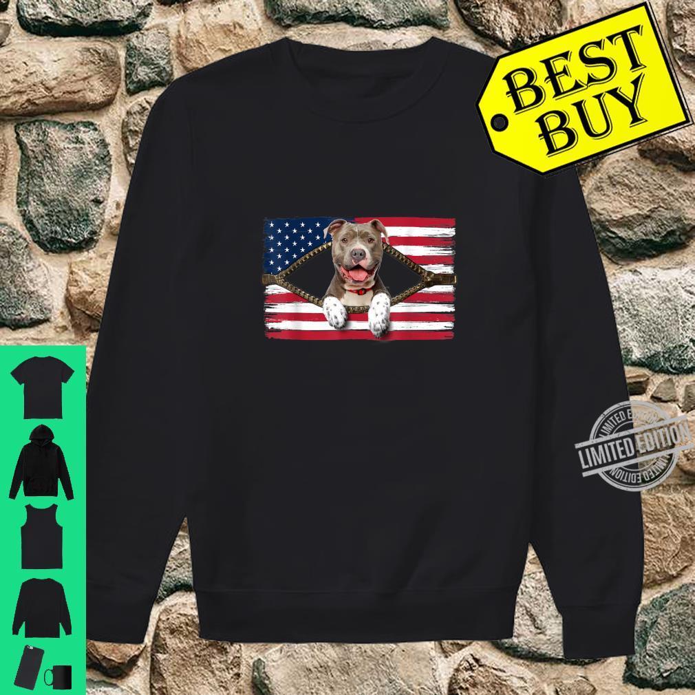 Funny Pitbull American Flag Shirt sweater