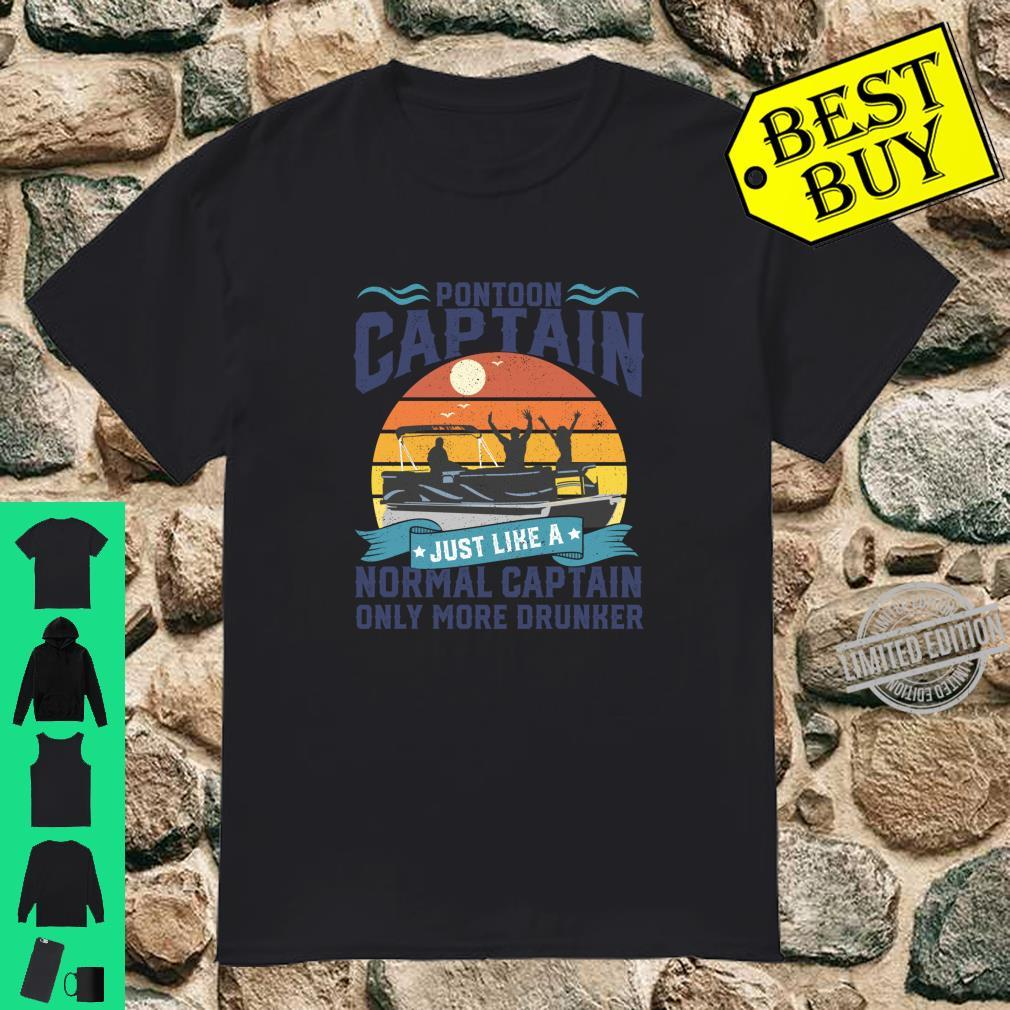 Funny Pontoon Captain Boat Lake Boating Dad Fathers Day Shirt