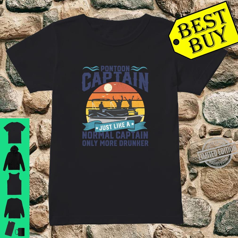 Funny Pontoon Captain Boat Lake Boating Dad Fathers Day Shirt ladies tee