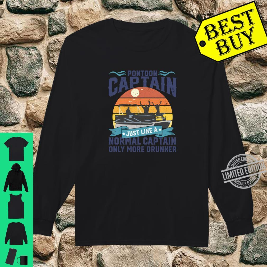 Funny Pontoon Captain Boat Lake Boating Dad Fathers Day Shirt long sleeved
