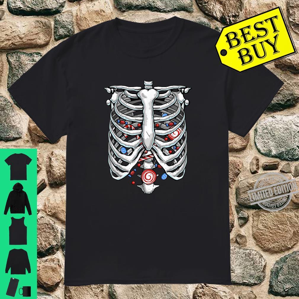 Funny Rib Cage Skeleton Xray Candy Halloween Lazy Costume Shirt