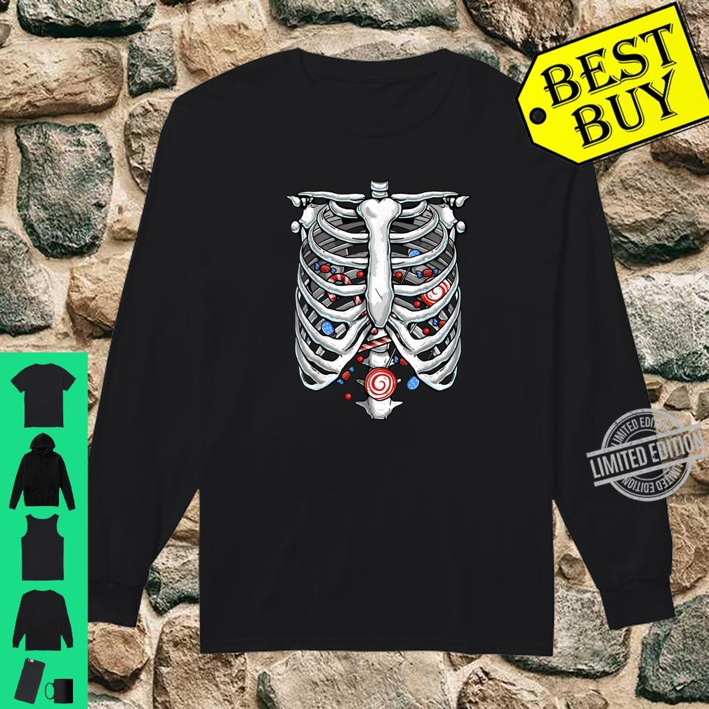 Funny Rib Cage Skeleton Xray Candy Halloween Lazy Costume Shirt long sleeved
