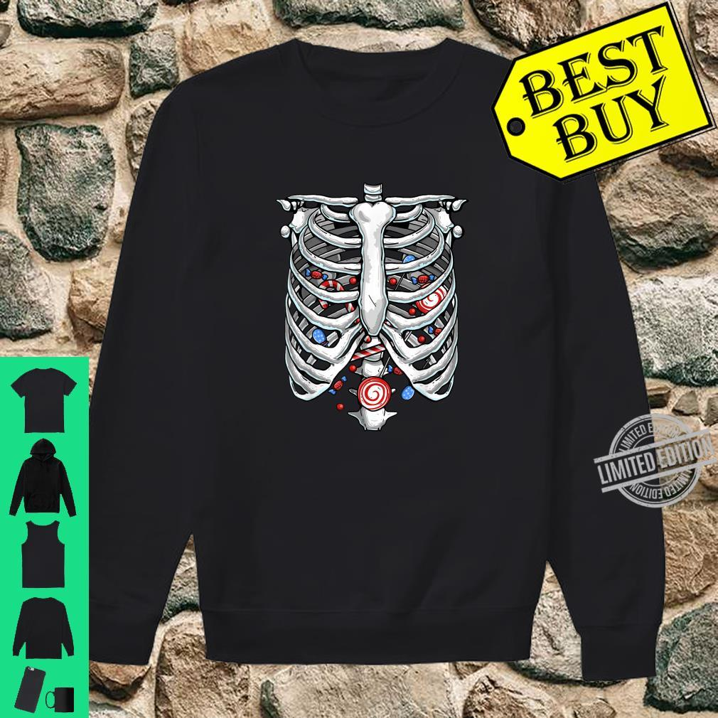 Funny Rib Cage Skeleton Xray Candy Halloween Lazy Costume Shirt sweater