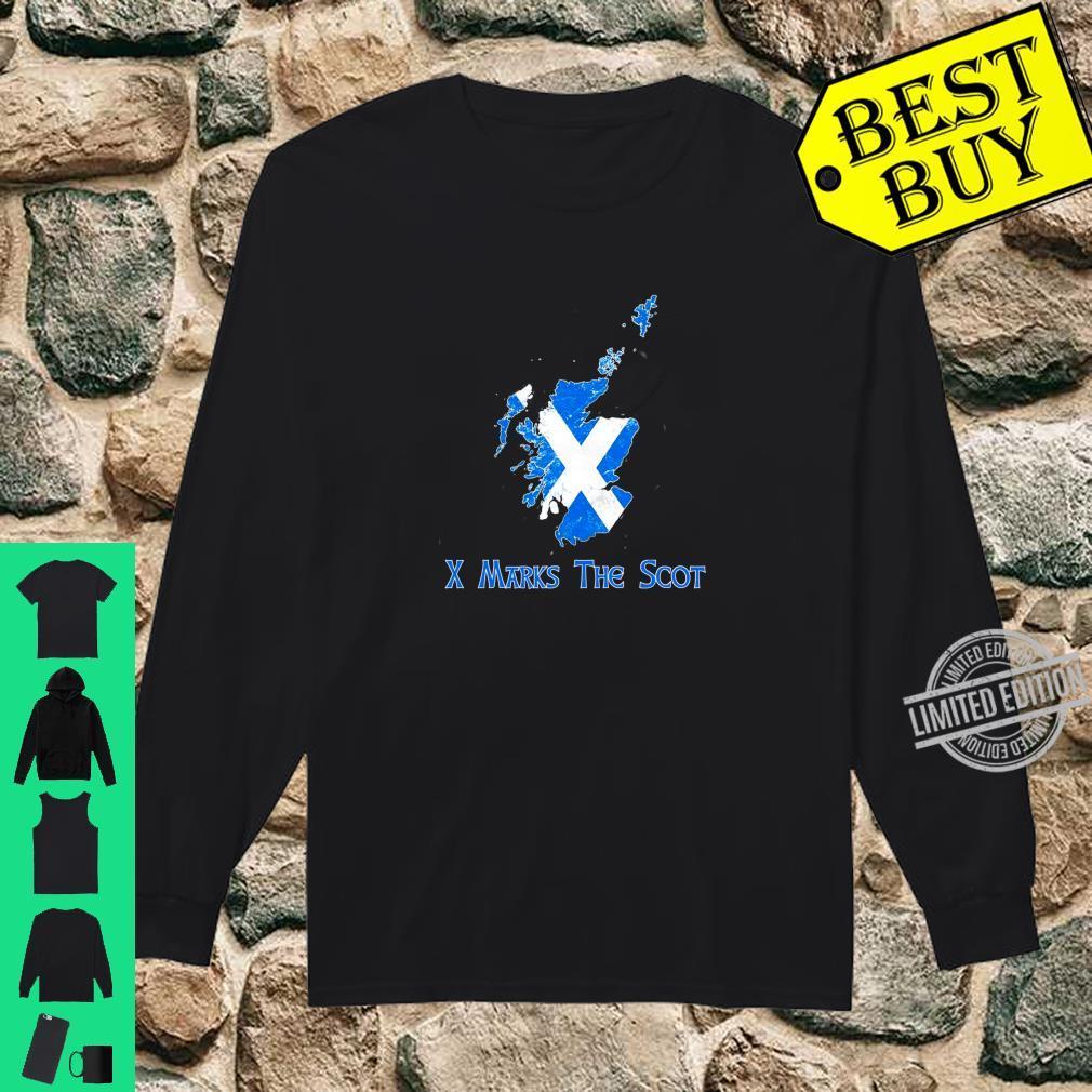 Funny X Marks The Scot Scottish Scotland Flag Shirt long sleeved