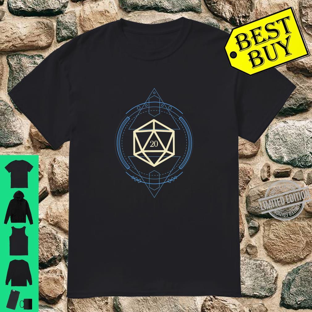 Geeky Geometric Nerdy Blue Polyhedral D20 Dice Shirt