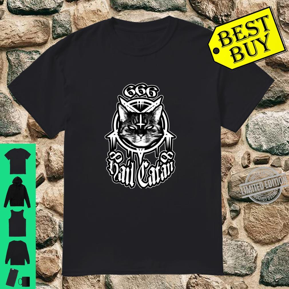 Gegrüßet seist du Catan Cat Satan Komisch von Finja Design Langarmshirt Shirt