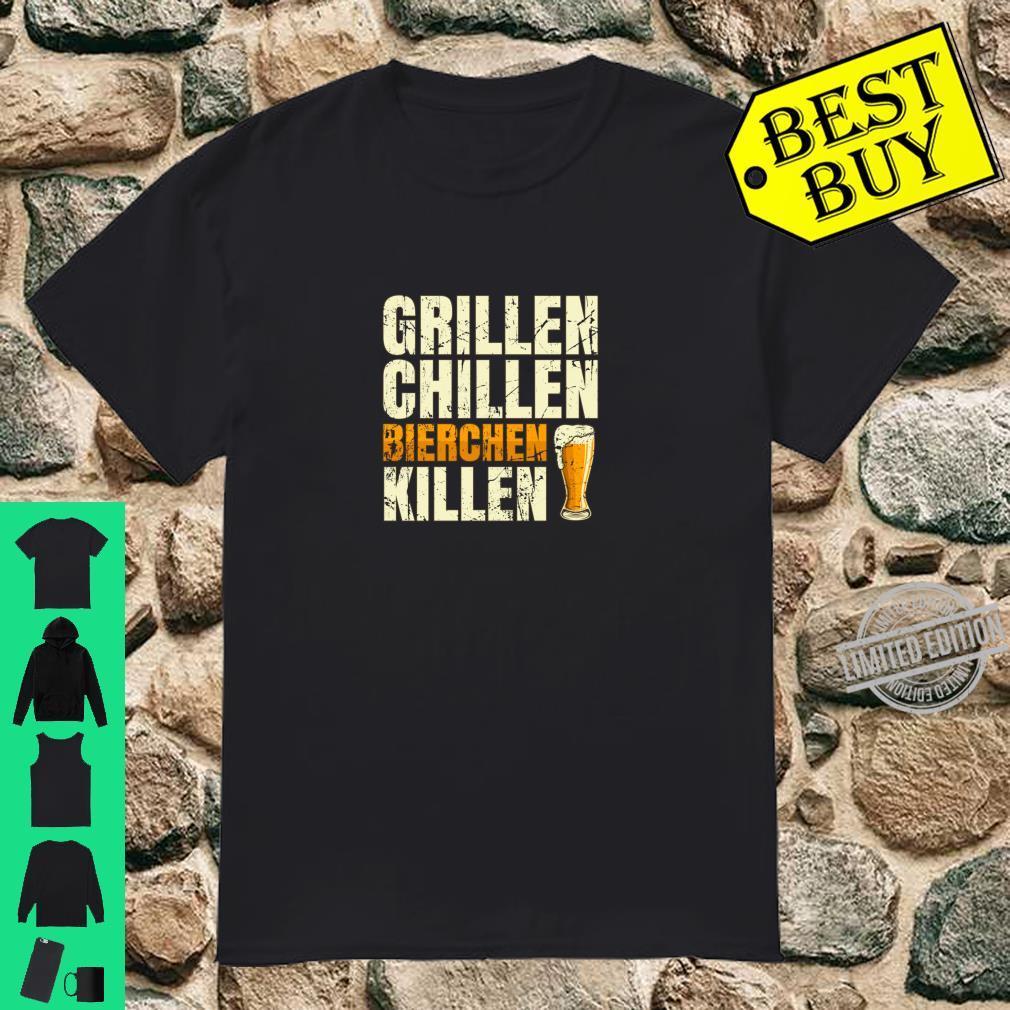 Grillen Chillen Bierchen Killen Lustiges Bier BBQ Geschenk Shirt