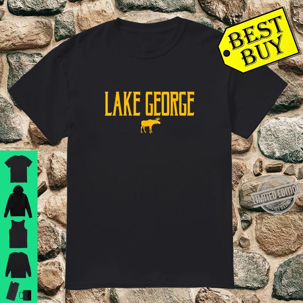 Lake George Moose Vintage Text Amber Print Shirt