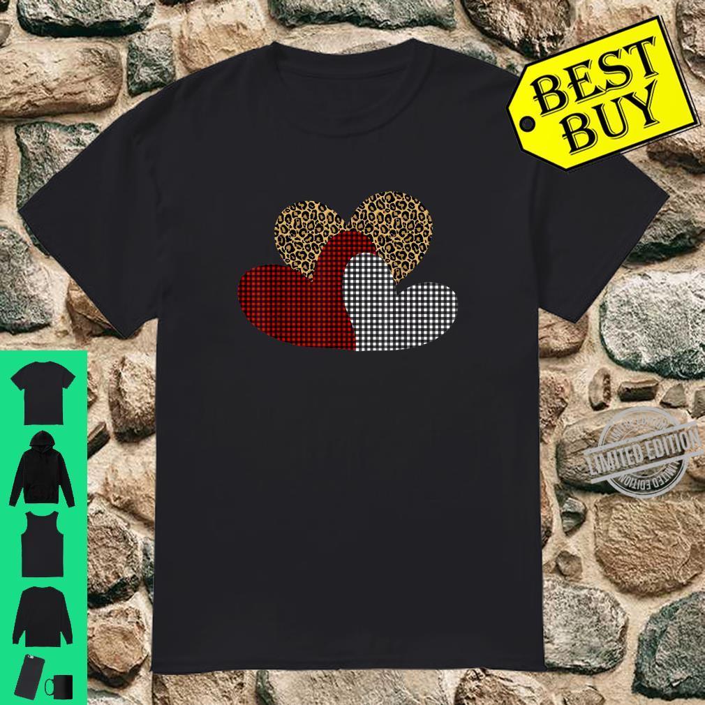 Leopard Buffalo Plaid Hearts Valentines day Shirt