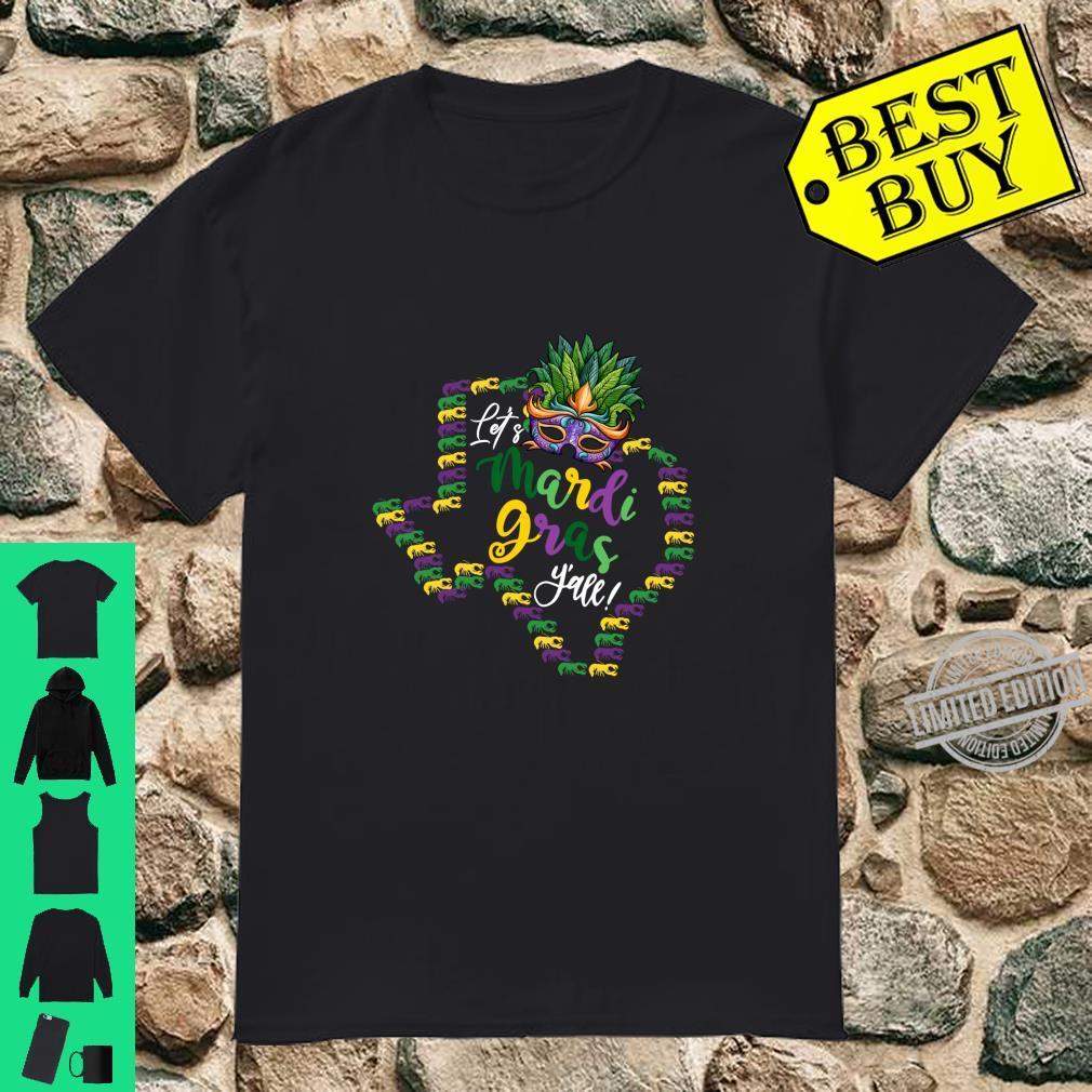 Let's Mardi Gras Y'all Texas Galveston Souvenir w Crawfish Shirt