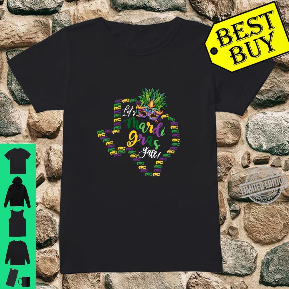 Let's Mardi Gras Y'all Texas Galveston Souvenir w Crawfish Shirt ladies tee