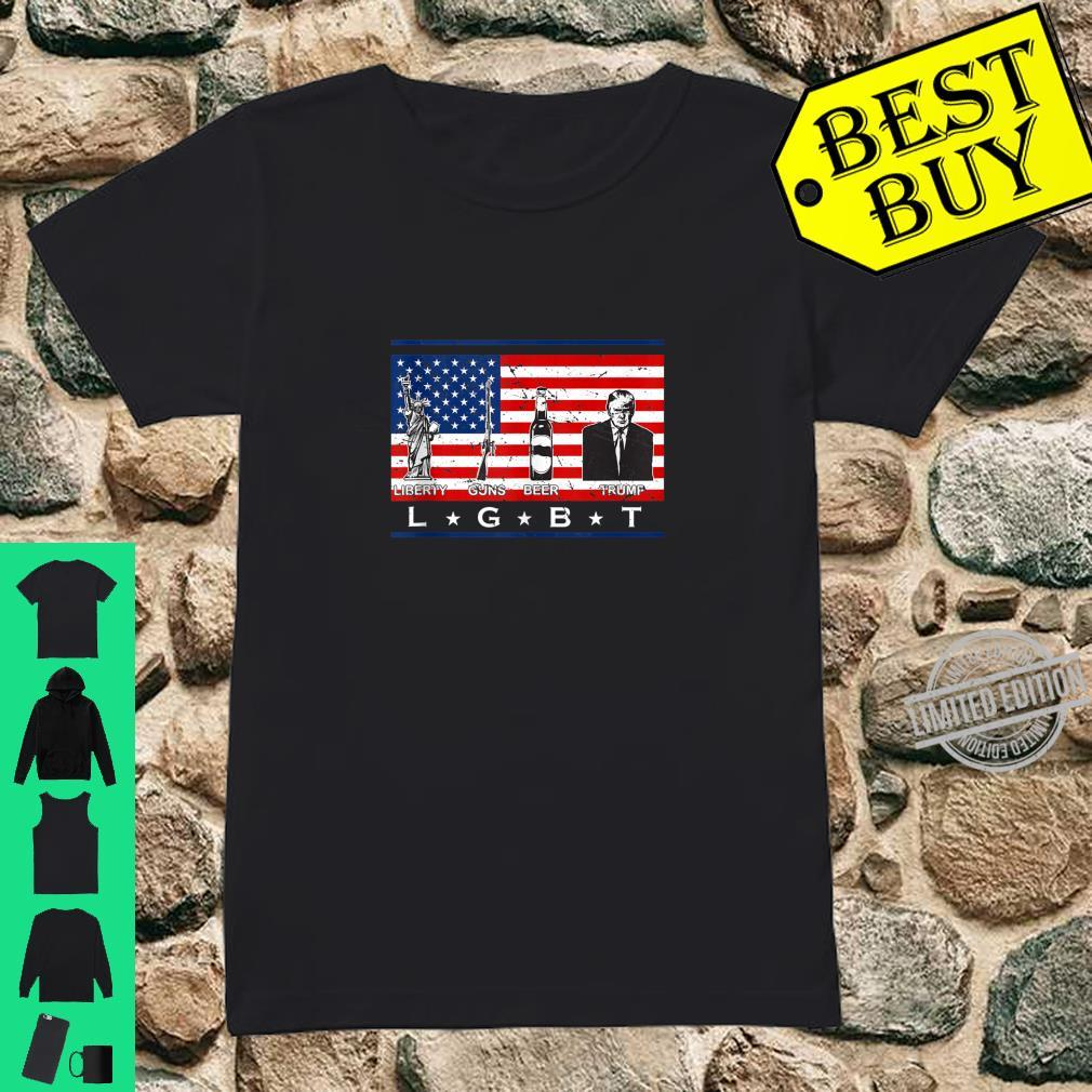 Liberty Guns Beer Trump Shirt LGBT Parody Support Shirt ladies tee