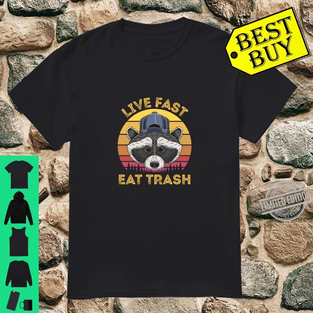 Live Fast Eat Trash Raccoon Retro Sun Shirt