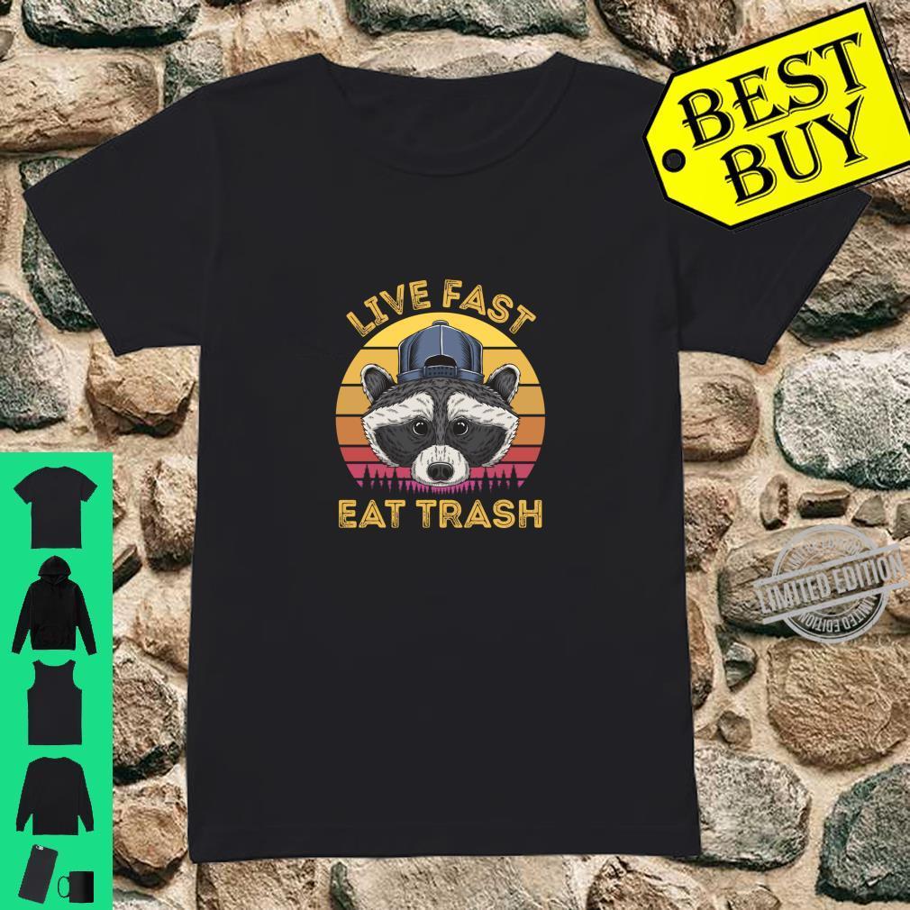 Live Fast Eat Trash Raccoon Retro Sun Shirt ladies tee