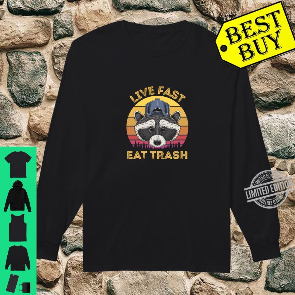 Live Fast Eat Trash Raccoon Retro Sun Shirt long sleeved