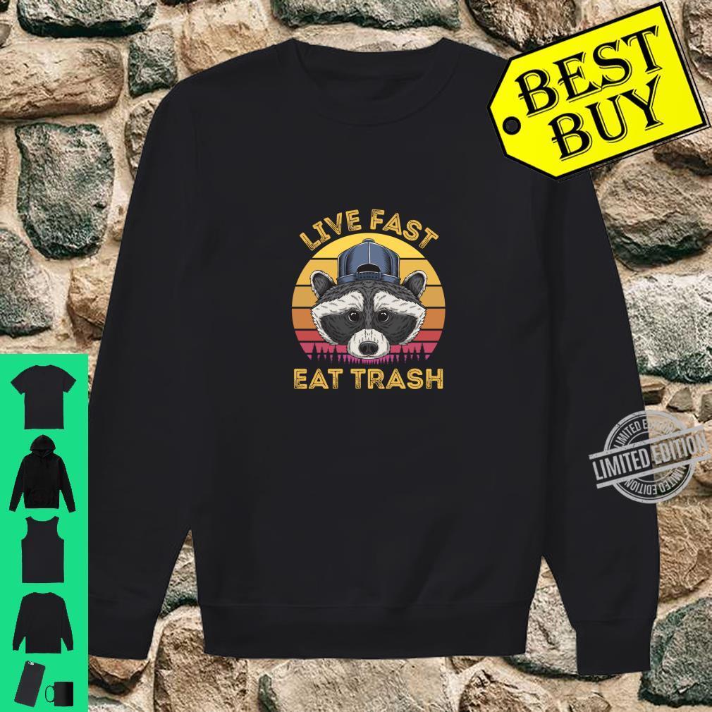 Live Fast Eat Trash Raccoon Retro Sun Shirt sweater