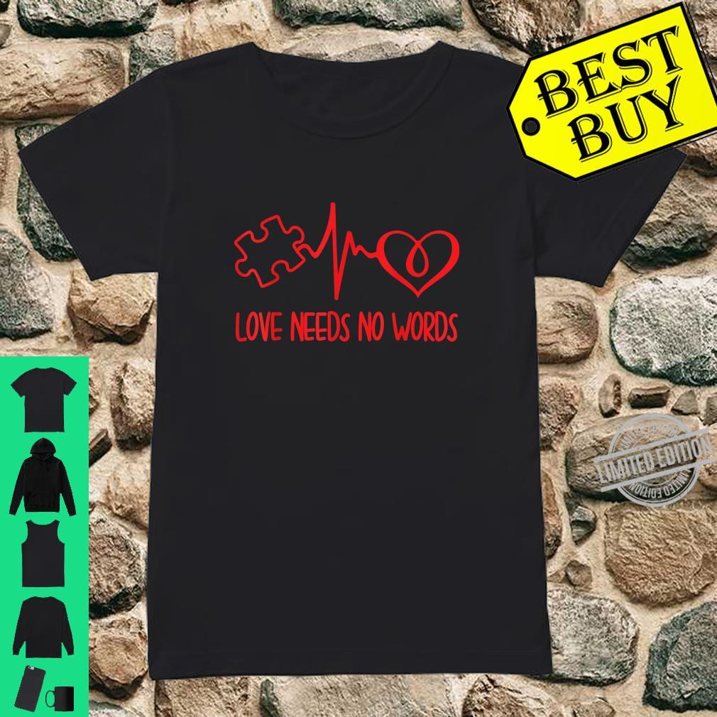 Love Needs No Words Puzzle Heart Autism Awareness Shirt ladies tee