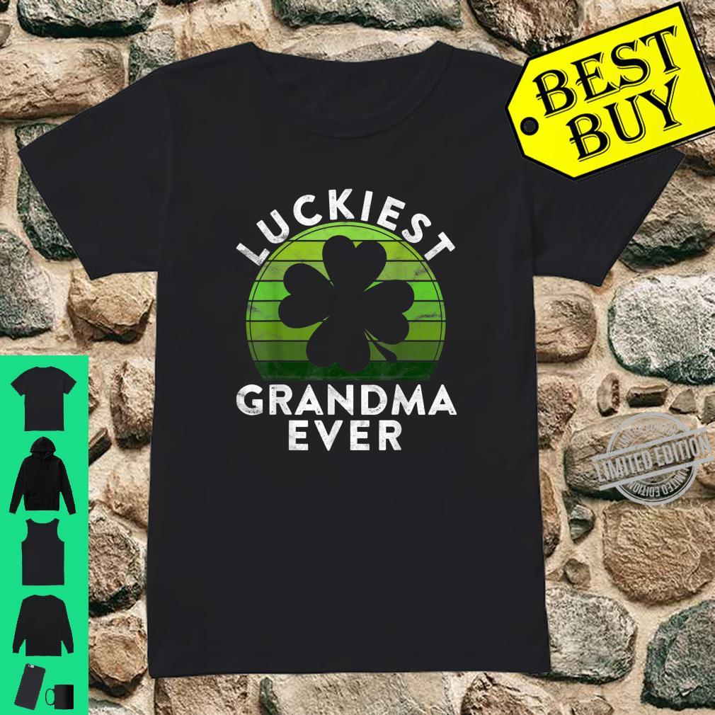 Luckiest Grandma Ever Shamrock Sunset St Patricks Day Shirt ladies tee