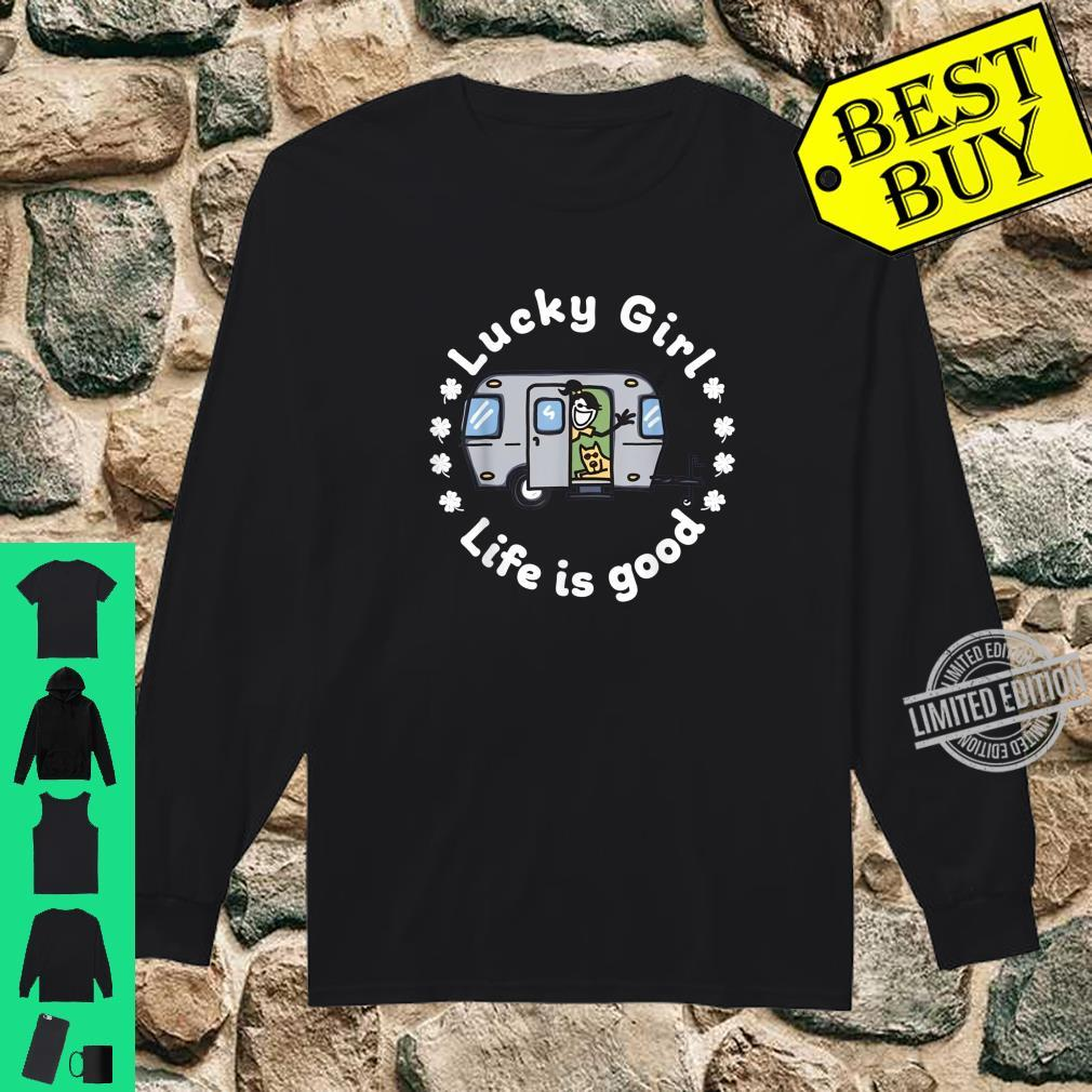 Lucky Girl LifeIsGood Camping St. Patrick's Day Shirt long sleeved