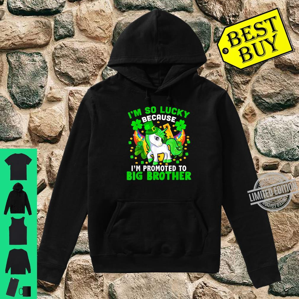 Lucky Promoted To Be Big Brother Cool Pregnancy Patricks Day Shirt hoodie