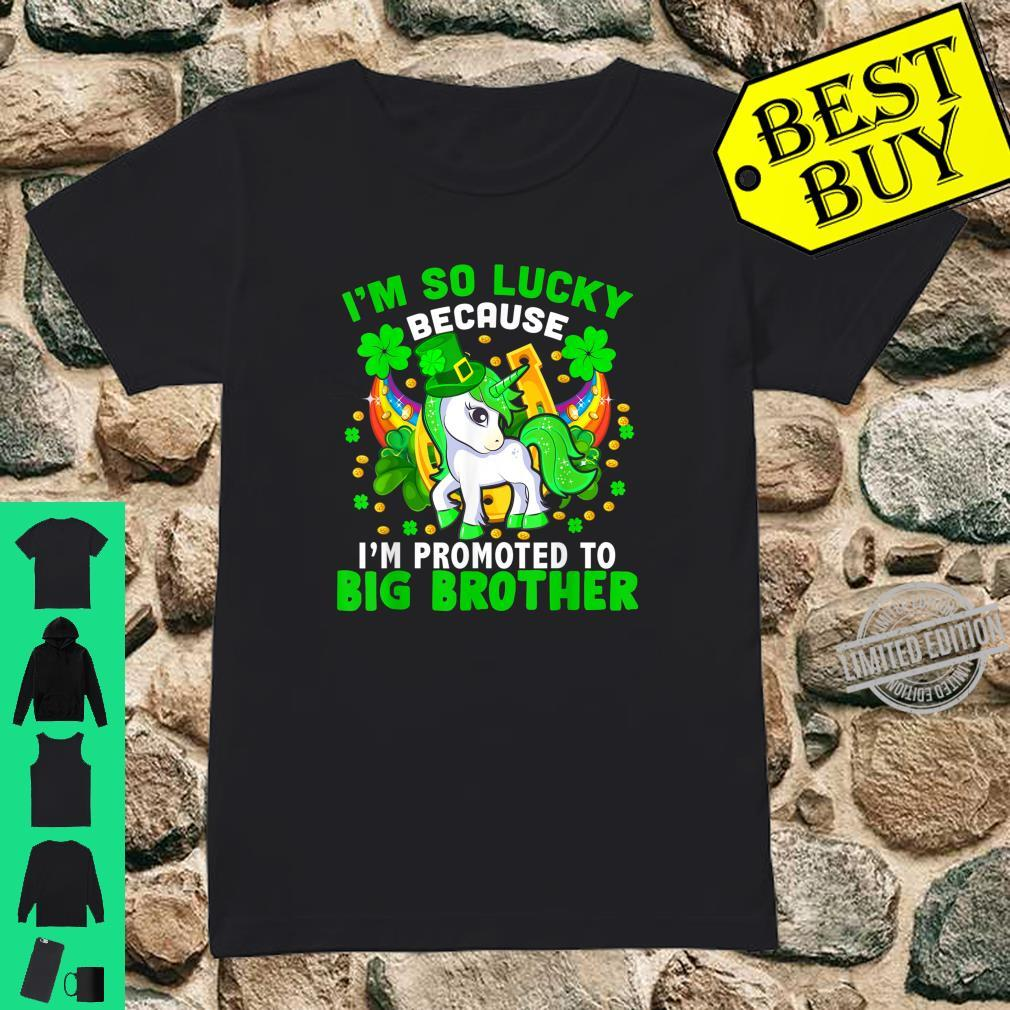 Lucky Promoted To Be Big Brother Cool Pregnancy Patricks Day Shirt ladies tee
