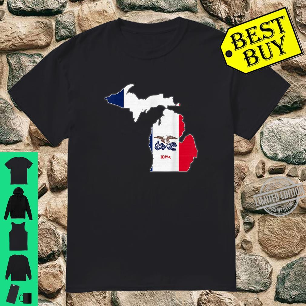MICHIGAN STATE MAP IOWA IA Flag Roots Shirt