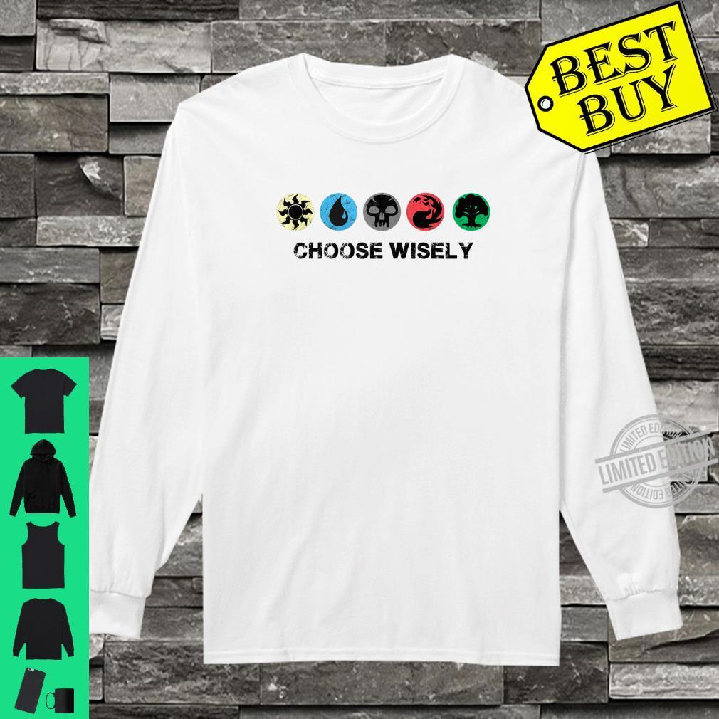 Mana Symbols Gathering Magic Choose Wisely Blue Red Green Shirt long sleeved