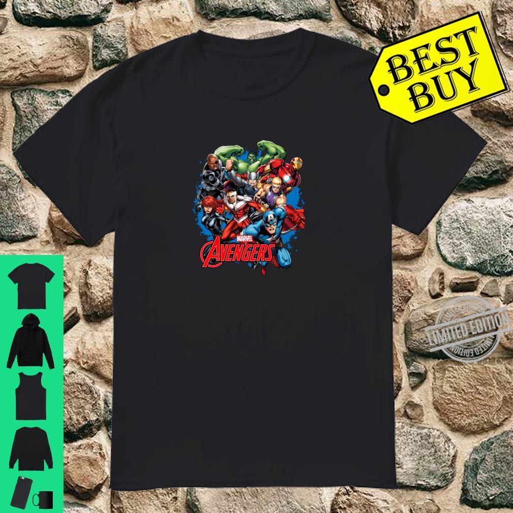Marvel The Avengers Group Shot Splattered Background Poster Shirt