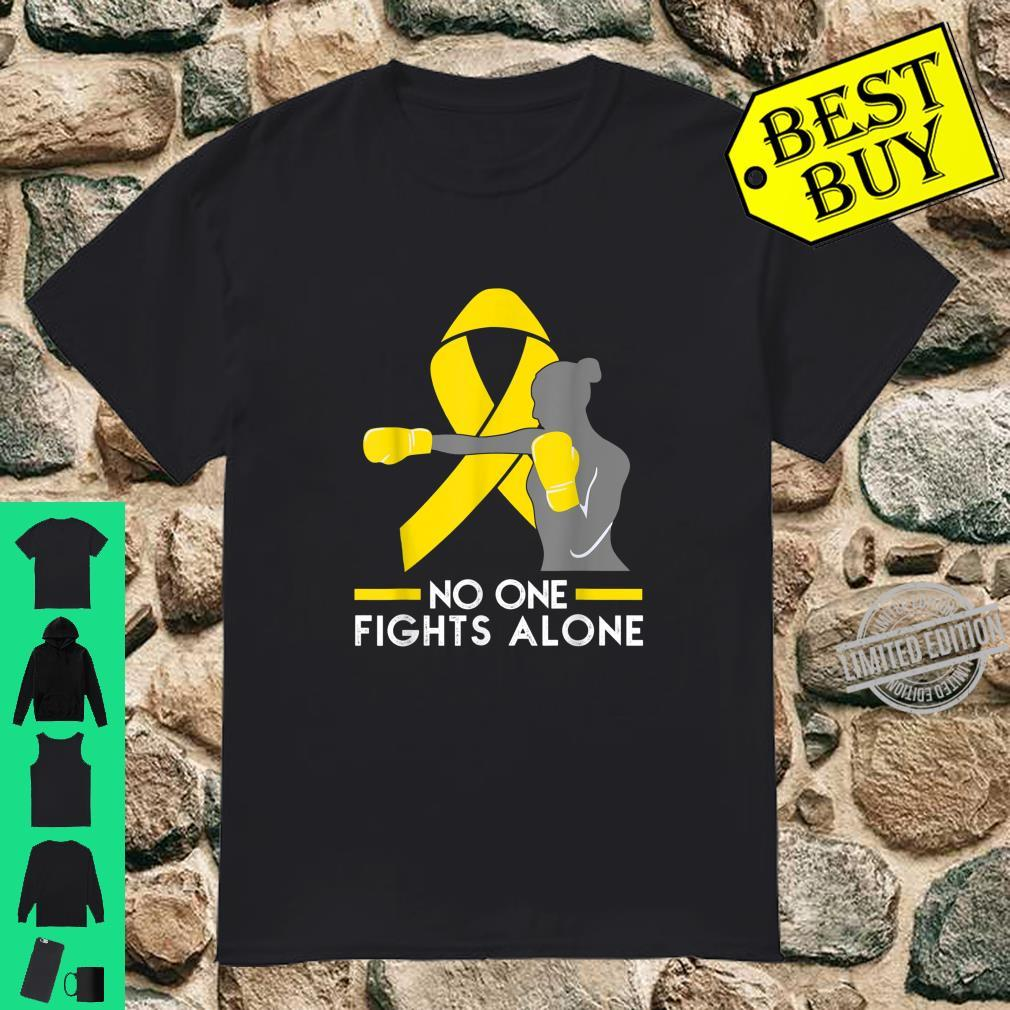 No One Fights Alone Bone Cancer Awareness Fighter Shirt