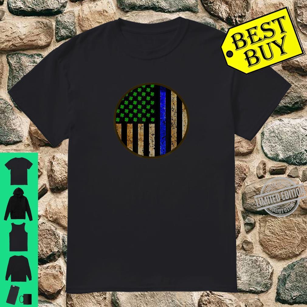 Police St Patrick's Day Shamrock American Flag Irish Clover Shirt
