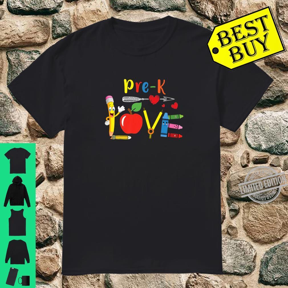PreK Love Teacher Student Classroom Apple Pencil Teaching Shirt