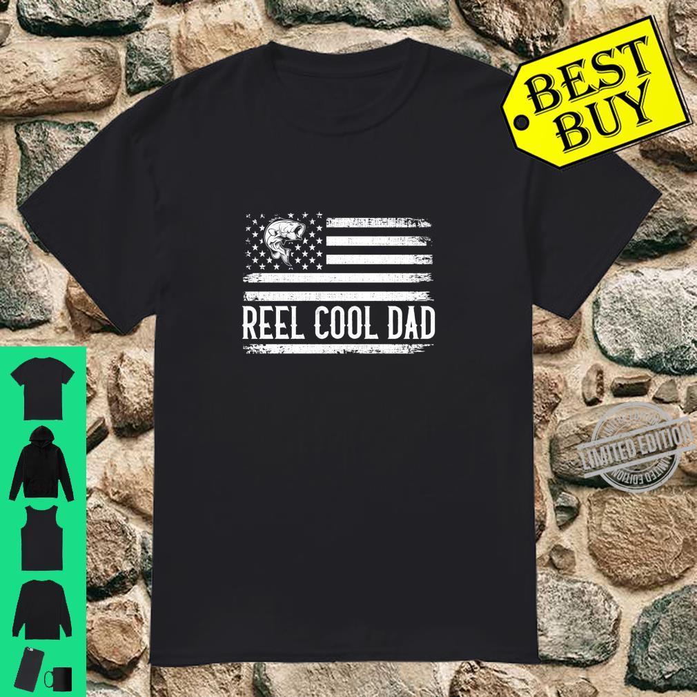 Reel Cool Dad Fishing Fisherman US Flag Shirt