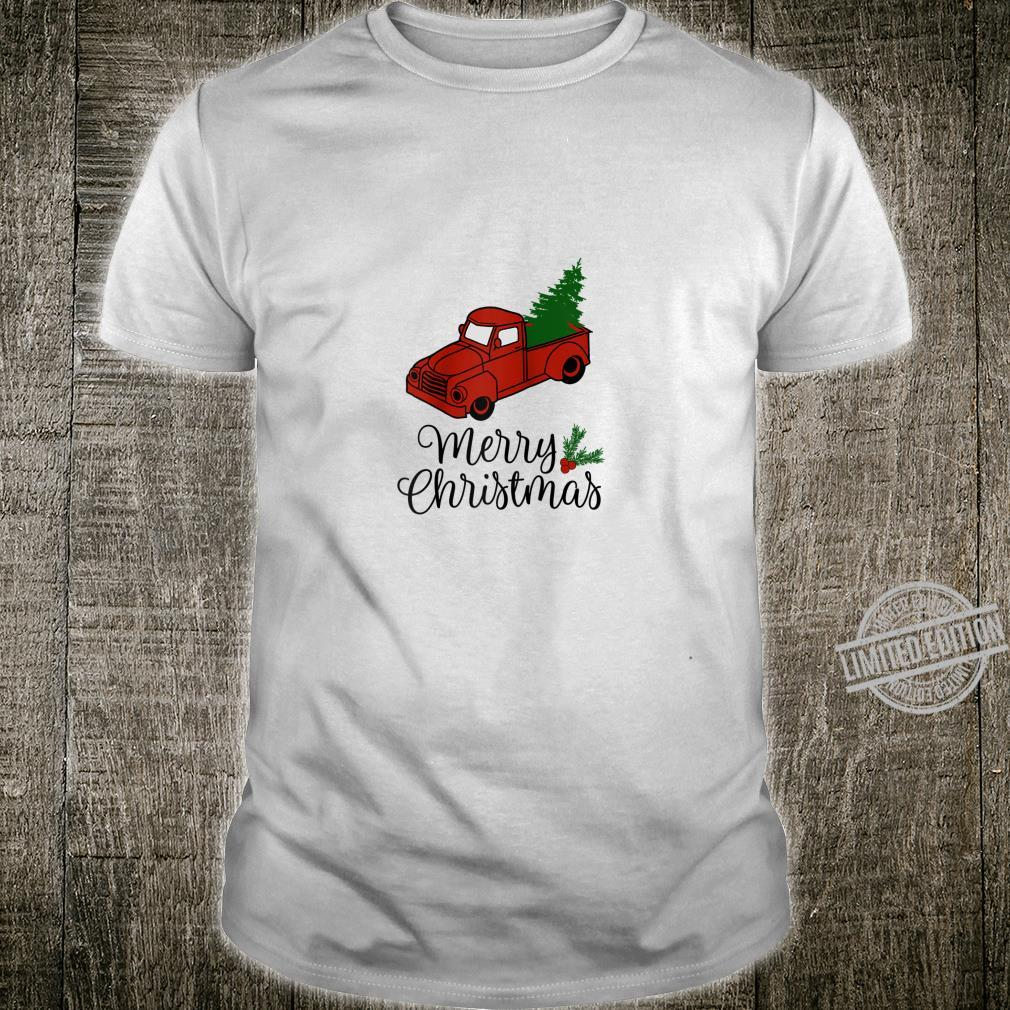 Vintage Holiday Red Truck with Christmas Tree Shirt