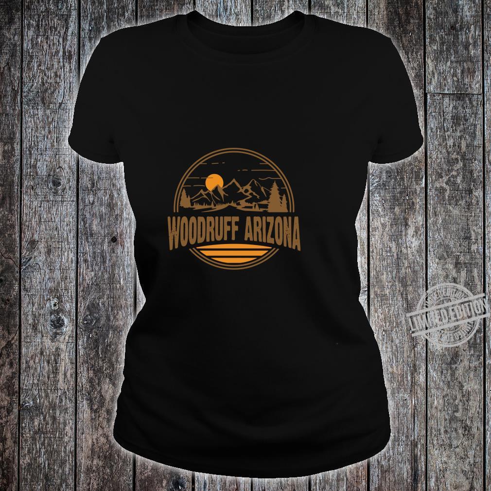 Vintage Woodruff, Arizona Mountain Hiking Souvenir Print Shirt ladies tee