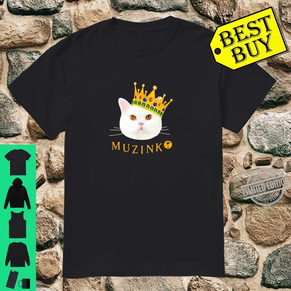 Weiße Katze Muzinko mit Krone Shirt