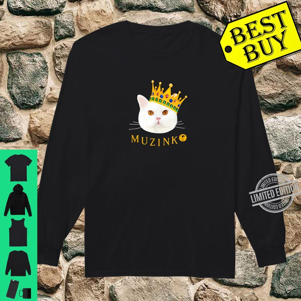 Weiße Katze Muzinko mit Krone Shirt long sleeved
