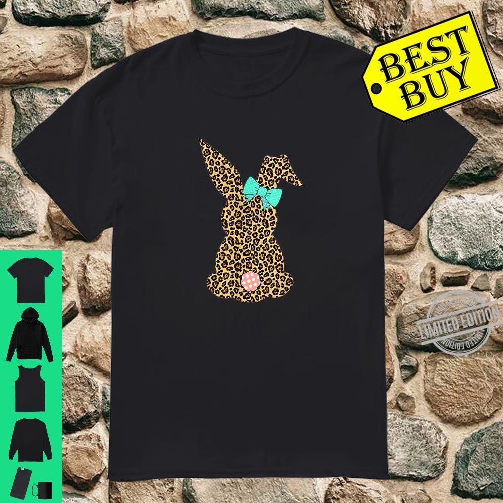 Womens Happy Easter Leopard Bunny Rabbit Shirt