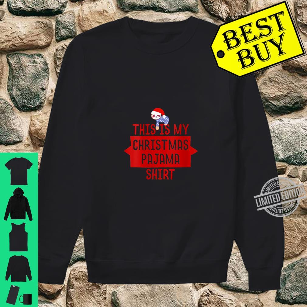 Womens This Is My Christmas Pajama Shirt Sloth Santa Hat Shirt sweater