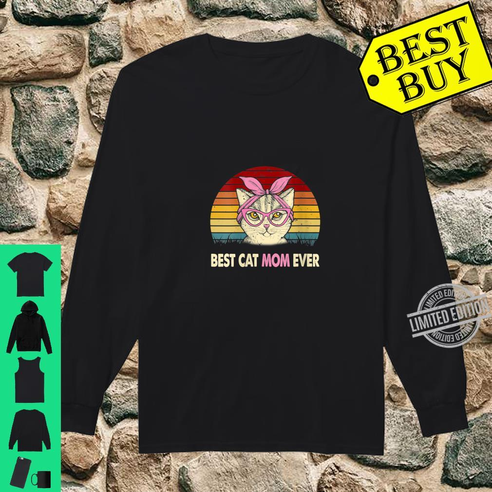 Womens Vintage Best Cat Mom Ever Cat Mama Mother Shirt long sleeved